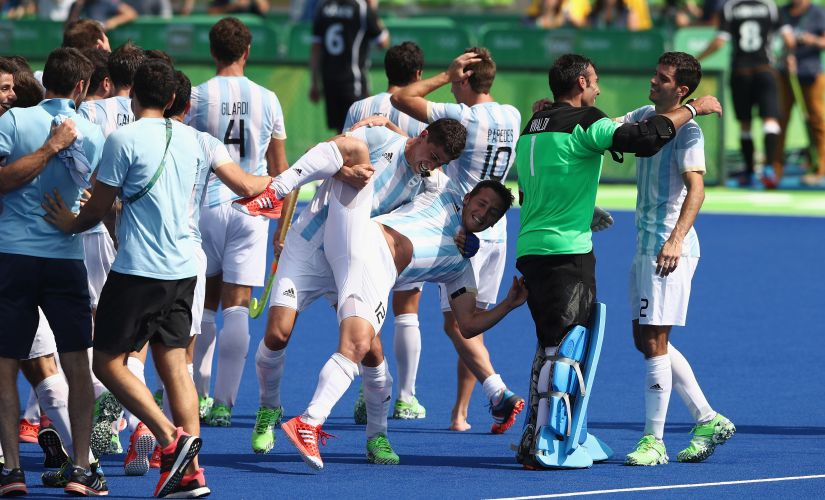 Argentina celebrate after their 5-2 victory against Germany. Getty