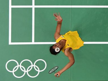 Pusarla V Sindhu plays a shot during the Women's Badminton Singles Semi-final. Getty