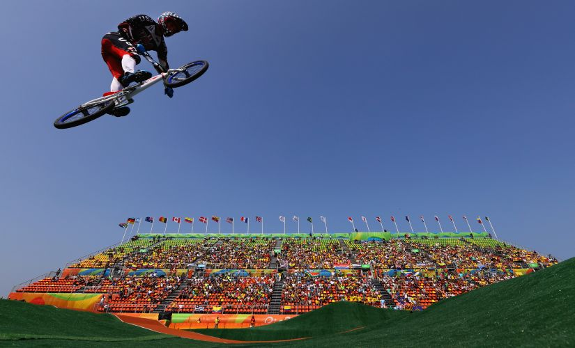 Connor Fields competes in the Cycling BMX - Men's Quarterfinals. Getty