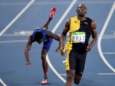Usain Bolt of Jamaica competes in the Men's 4 x 100m Relay Final at the Rio Olympic. Getty Images