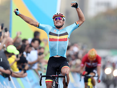 Greg van Avermaet of Belgium celebrates winning the gold medal in the Men's Road Race. Getty