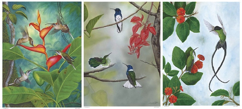 Hummingbirds painted by Vydehi and Sangeetha