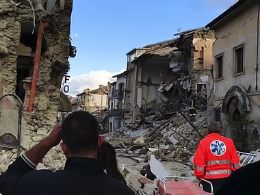 This still image taken from video shows the destruction in Amatrice, central Italy, where a 6.1 earthquake struck just after 3:30 a.m., Wednesday, Aug. 24, 2016. AP Photo