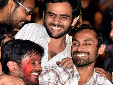 File image of Kanhaiya Kumar, Umar Khalid and Anirban Bhattacharya. PTI