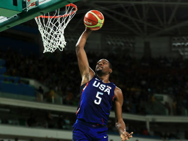 Kevin Durant in action during the gold medal match in Men's Basketball between USA and Serbia. Getty Images