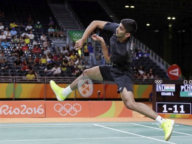 Srikanth Kidambi in action against Lin Dan at Rio Olympics 2016. AP