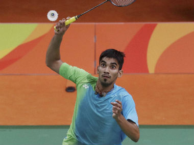 Kidambi Srikanth in action during his match against Jan Jorgensen. PTI