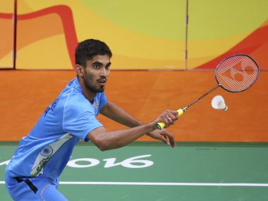 Srikanth Kidambi plays against Lino Munoz of Mexico. Reuters