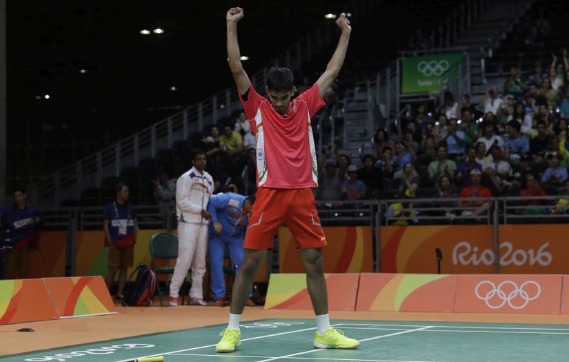 India's Srikanth Kidambi celebrates alter beating Sweden's Henri Hurskainen at the Olympics. AP