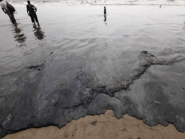 File photo of 2011 oil spill off Mumbai coast. AP