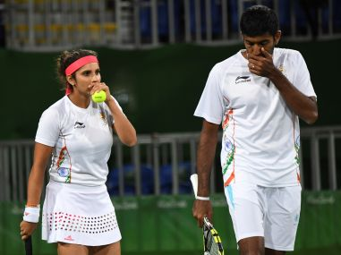 Sania Mirza-Rohan Bopanna celebrate their win in the quarterfinals. AFP
