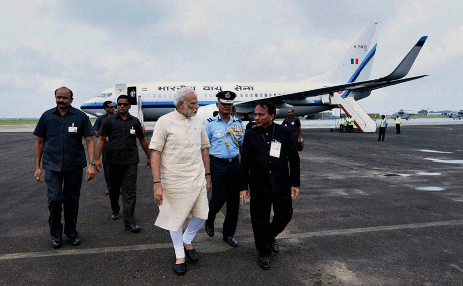 Prime Minister Narendra Modi reached Jamnagar on Tuesday to launch the SAUNI Yojna irrigation scheme, a project he had initiated in 2012 as the Gujarat Chief Minister. PTI