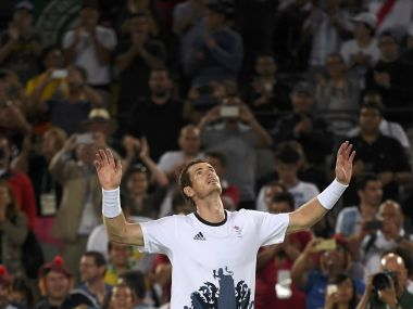 Andy Murray celebrates after winning his match against Juan Martin Del Potro. Reuters