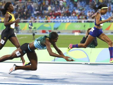 Shericka Jackson, Shaunae Miller and Allyson Felix finish the race. Reuters