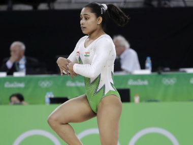 Dipa Karmakar performs on the floor during the artistic gymnastics women's qualification. AP