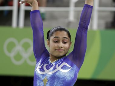Dipa Karmakar performs on the vault. AP