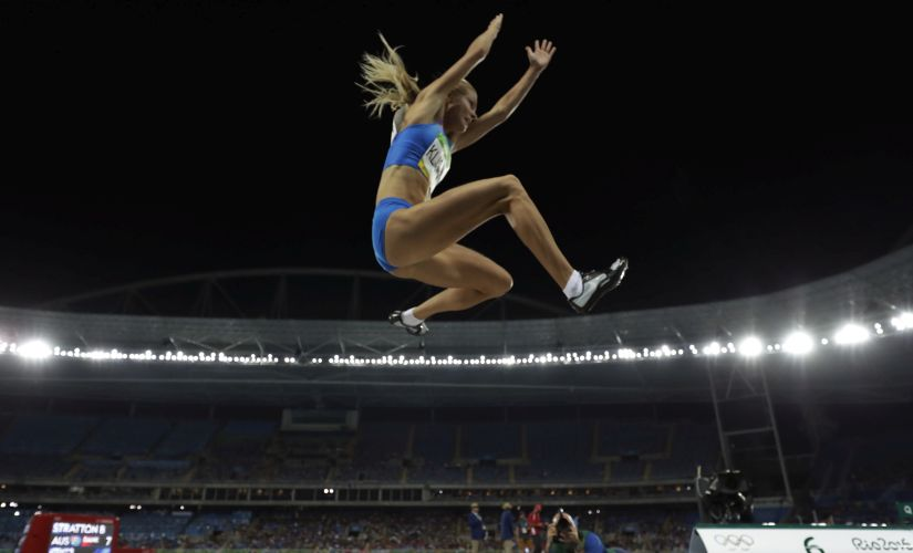 Darya Klishina competes in the women's long jump qualification. AP
