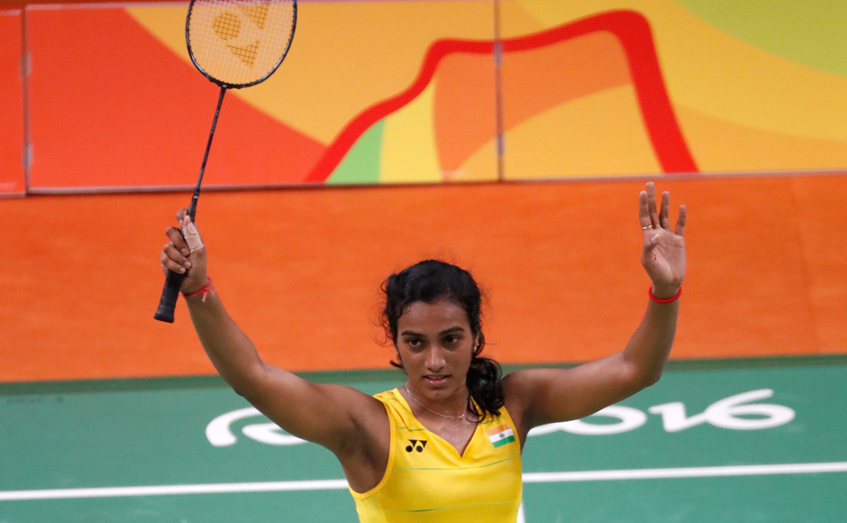 India's PV Sindhu reacts after defeating Japan's Nozomi Okuhara during women's singles semifinal match at Rio Olympics. AP