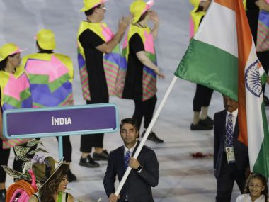 Abhinav Bindra carries the flag of India during the opening ceremony for the 2016 Summer Olympics in Rio de Janeiro, Brazil. AP