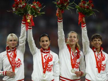 The Russian women's 4x400 relay team (from L to R): Yulia Gushchina, Liudmila Litvinova, Tatiana Firova Anastasia Kapachinskaya. Reuters