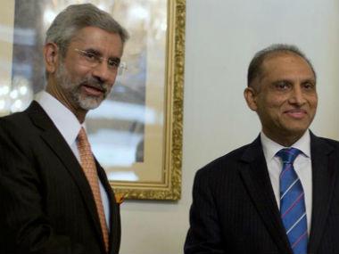 File photo of Indian Foreign Secretary S Jaishankar with his Pakistani counterpart Aizaz Chaudhry. AP