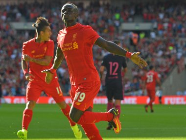 Liverpool's Sadio Mane celebrates after scoring against Barcelona. AFP