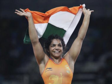 India's Sakshi Malik reacts after winning bronze against Kyrgyzstan's Aisuluu Tynybekova. AP