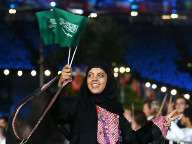 Sarah Attar at the opening ceremony of the 2012 London Olympics. Getty