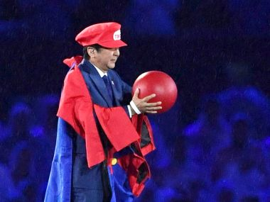 Japanese Prime Minister Shinzo Abe appears as the Nintendo game character Super Mario. AP