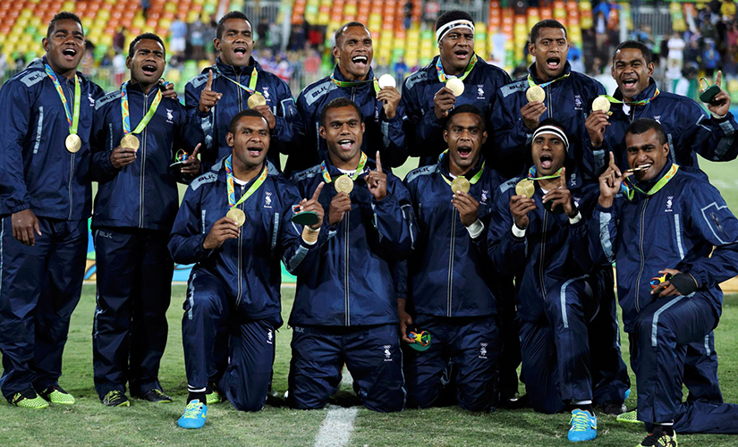 File photo of Fiji's rugby team. AP