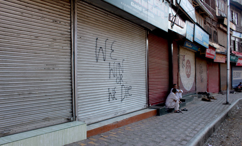 Shut shops in Srinagar as per the Hurriyat calendar. Sameer Yasir/Firstpost