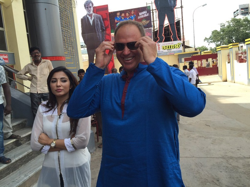 Matthew Hayden along with actress Parvathi Nair after watching 'Kabali' at Albert Theatre in Chennai
