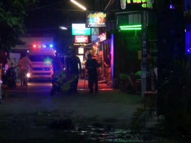 In this screen grab taken from video, emergency services at the scene of a bomb attack, in Hua Hin, Thailand on Thursday. AP