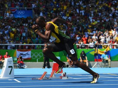 Usain Bolt starts his 200m Heat at the Rio 2016 Olympics. Getty