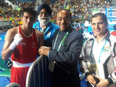 Vijay Goel at the Rio 2016 Olympics with Manoj Kumar. Twitter/ Vijay Goel