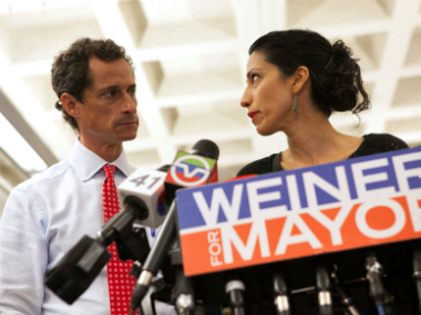 A file image of Anthony Weiner and his wife Huma Abedin. Reuters