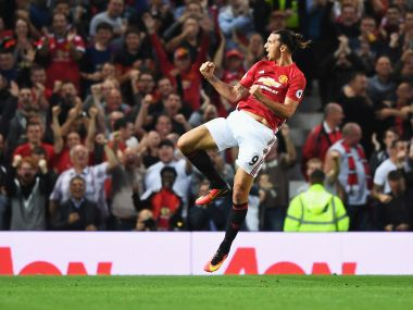 Zlatan Ibrahimovic celebrates scoring a goal for Manchester United. Getty