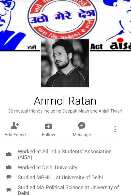Screengrab of Anmol Ratan's Facebook page.