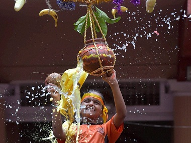Mumbai: Visually impaired students celebrate Dahihandi in Mumbai on Wednesday. PTI Photo by Santosh Hirlekar(PTI8_24_2016_000254B)