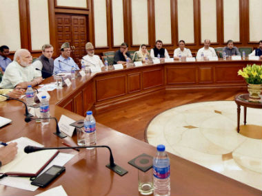 PM Modi holding a meeting with a delegation from the Opposition in Kashmir. PTI
