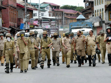 Security officials in Kashmir. PTI