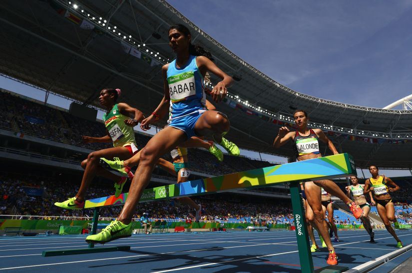 Lalita Babar of India competes in the Women's 3,000m steeplechase final. Getty Images