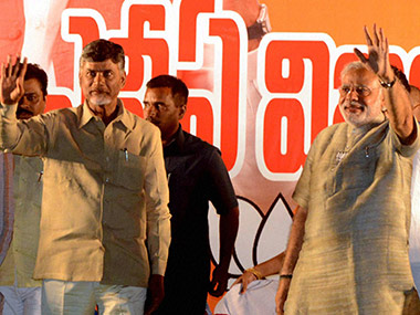 A file photo of Chandrababu Naidu and Narendra Modi. PTI