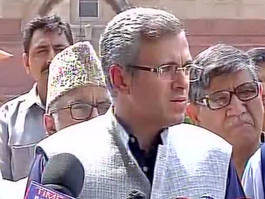 Omar Abdullah after the opposition parties' meeting with the President. Twitter/ @ANI_news