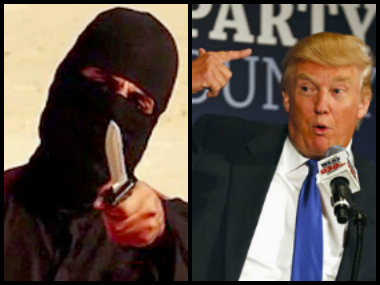 US presidential candidate Donald Trump and a file photo of Jihadi John.