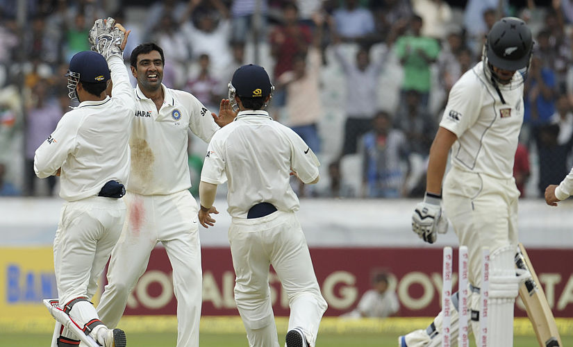 Ravichandran Ashwin celebrates the wicket of New Zealand captain Ross Taylor. India won the Test by an innings and 115 runs. AFP