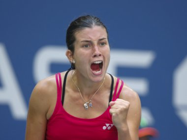 Anastasija Sevastova of Latvia reacts after beating Johanna Konta. AFP