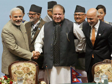 Prime Minister Narendra Modi, with Pakistan PM Nawaz Sharif and Afghanistan President Ashraf Ghani during the 18th Saarc summit last year. PTI