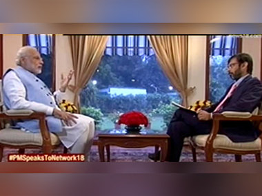 Prime Minister Narendra Modi in an interview with CNN-News18. Image courtesy CNN-News18