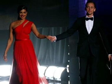 Priyanka Chopra and Tom Hiddleston presenting an award at the Emmys. Image courtesy: Twitter.